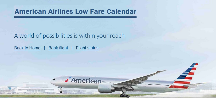 American Airlines Low Fare Calendar
